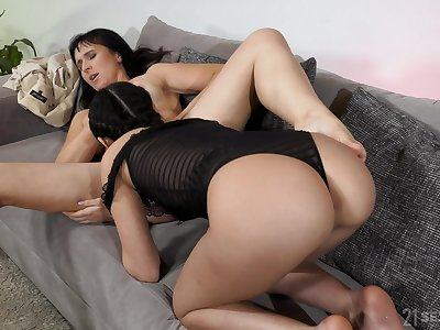 Naughty babes Sissy and Moyanne have ebullient of a female lesbian sex