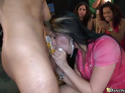 Club full of hot girls who get ready to suck and take facials