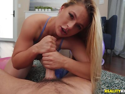 Yoga enthusiast Sloan Harper's POV sucking and bonking