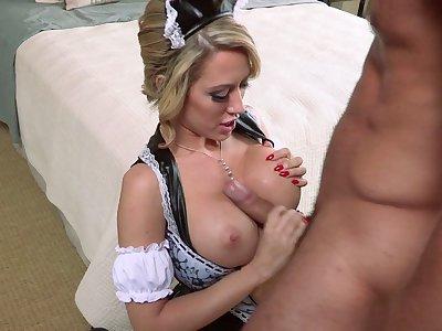 Mature blonde Capri Cavani in stockings fucked drool deep on the bed