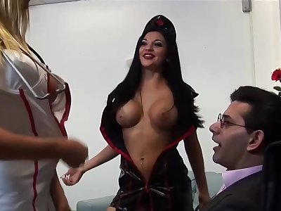 Slutty babes who might be real nurses are having group sex, because they got super powered