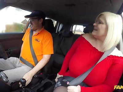 Lacey Starr is a big titted, blonde mature who likes to fuck men, even in put emphasize car