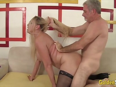 Mature blonde body of men enjoy their old pussies getting reamed by hard dicks in many positions