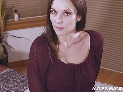 Flirty stepmom Mandy Flores takes cumshots on her pallid panties