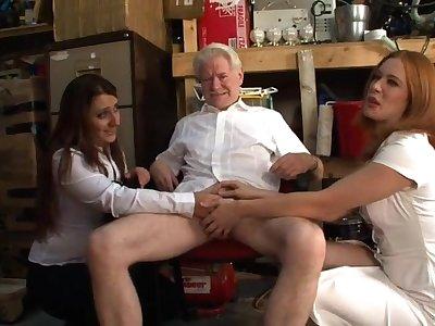 Senior man gets his dick pleasured by Kimberly Scott and Trinity