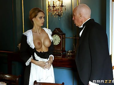 Blonde sheila strips for the master of the house and gets laid with him