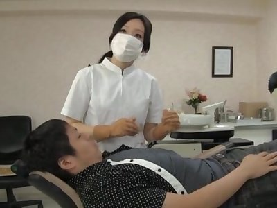 Naughty Japanese dentist enjoys having sex forth her lucky client