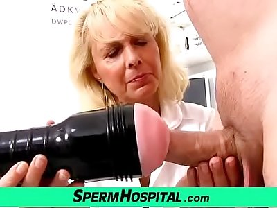 Mart lady doctor Koko old with young CFNM exam plus handjob