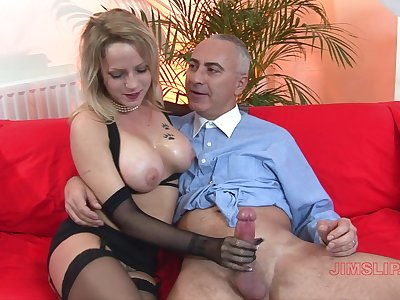Busty blonde mature works magic with those estimable frontier fingers